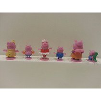 Peppa Pig George Pig Papai Pig Mamãe Pig 6 Minis Bonecos