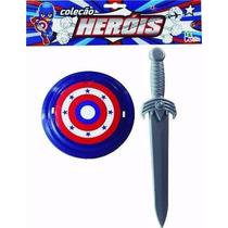 Kit Brinquedo Capitão América = Espada + Escudo Frete Grátis