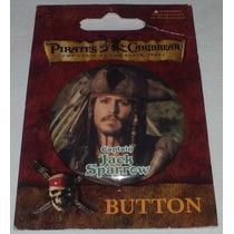 Piratas Do Caribe Cap Jack Sparrow Button Bótom Pérola Negra