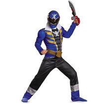 Fantasia Infantil Power Rangers Azul, Megaforce Com Músculos