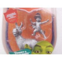 Boneco Articulado Do Burro E Gato De Botas Prateado Shrek 3