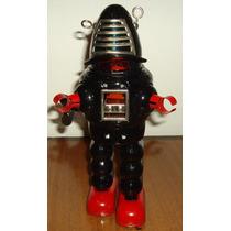 Brinquedo Vintage Retrô Espacial Robby Robô Metal Corda