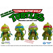 Kit Chaveiros Tartarugas Ninja Com Led E Som - Turtles