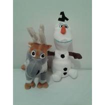Kit 2 Boneco Pelúcia Frozen Olaf+sven Disney 40 Cm