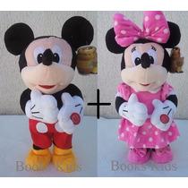 2 Pelúcias Minnie Rosa E Mickey Musical Que Dança Disney