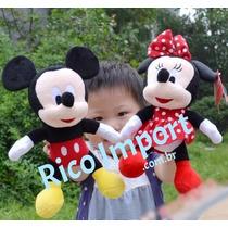 Kit 2 Bonecos Pelúcia Disney Mickey E Minnie 30cm - Original