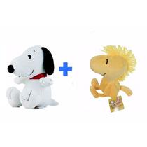 Kit Pelucias Snoopy + Passarinho Woodstock Originais 22cm