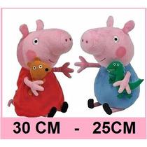 2 Bonecos Pelúcia Peppa E George Pig - Pronta Entrega