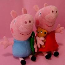 Kit 2 Bonecos Peppa Pig E George Pig Pelúcia Pronta Entrega!