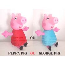 Bonecos Peppa Pig E George Cabeça Vinil E Pelúcia 40cm Lindo