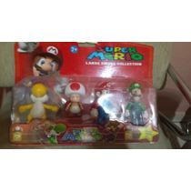 Kit Bonecos Pvc Super Mario, Luigi,toad E Yoshi Amarelo 12cm
