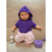 Boneca Bebê Corpo Pano Vinil Touca Ri 37cm Gordinha Moletom