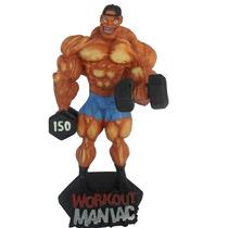 Boneco Musculoso Halteres Musculação Rosca Alternada Mod.4
