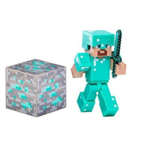 Boneco Minecraft Steve With Diamond Armor Lacrado Notafiscal