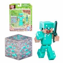 Minecraft Steve Com Armadura De Diamante Series 2 Jazwares