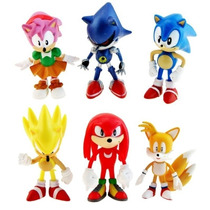 Bonecos Sonic Miniaturas Sonic 6 Peças! Sonic Tails Knuckles