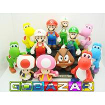 Kit Coleção Super Mario Bros - 12 Bonecos - Yoshi Luigi Toad