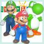 Kit 3 - Bonecos Em Pvc Mario Luigi Yoshi Bros 12cm