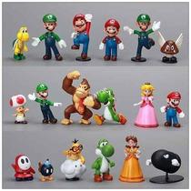 Coleção Kit 18 Miniaturas Bonecos Turma Super Mário Bros