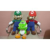 Kit Bonecos De Pelúcia Luigi + Mário Bros +yoshi