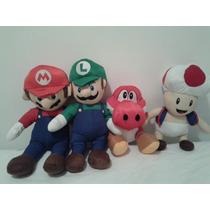 Kit 4 Bonecos De Pelúcia Luigi + Mário Bros + Toad + Yoshi