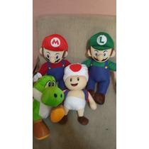 Kit Bonecos De Pelúcia Luigi + Mário Bros +yoshi+ Toad