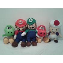Kit 5 Bonecos De Pelúcia Luigi + Mário Bros + Toad + Yoshi +