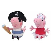 Peppa Pig Bailarina De Pelúcia + George Pirata De Pelúcia Bo