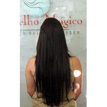 Cabelo Brasileiro Humano Castanho Mega Hair 65 Cm 30 Gramas