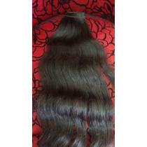 Cabelo Humano Ondulado Castanho Tela 50gr 70cm -mega Hair