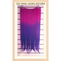 Cabelo Tic Tac Californiana Ombré Hair 60cm 23# Pink+roxo