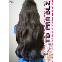 Aplique Tic Tac Hair Cabelo Fibra Japonesa Castanho 60 80cm
