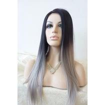 Peruca Feminina 2 Tons Ombré Hair Cinza - Pronta Entrega!