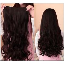 Aplique Alongamento Mega Hair Preto Ondulado Aceita Chapinha