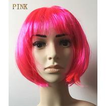 Peruca Curta De Carnaval Festa Colorido Cosplay Cor Pink