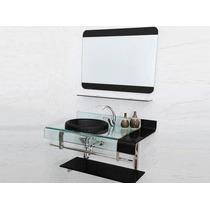 Gabinete Banheiro Chopin Preto 90x53x46 Com Espelho