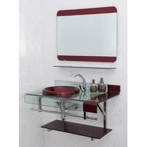 Gabinete Banheiro Chopin Vidro Vinho 90x53x46 Com Espelho