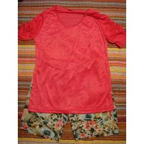 Pijama Feminino Rosa Florido Tam. M Bermuda