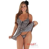 Camisola Sensual Curta Onça Sandy   Lingerie Sexy +brinde