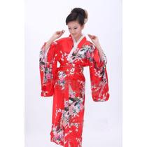Robe Roupão Quimono Japonês Yukata Cetim Geisha Vermelho