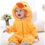 Pijama Fantasia Macacão Bebê Plush Pato Duck Animal Capuz