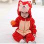 Pijama Fantasia Macacão Bebê Plush Raposa Fox Animal Capuz