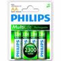 Pilha Recarregável Aa 2300 Mah Multilife R6b4a230 Philips
