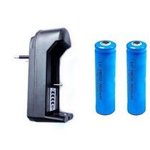 Kit Para Lanterna Tática Carregador + 2 Baterias Mod 18650