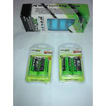 8 Bateria Recarregável Tamanho D Com 1 Carregador Universal