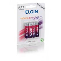 Pilhas Recarregáveis Elgin Aaa 1000mah Com 4