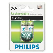 Pilha Aa Recarregável Original Philips 2 Un. 2600 Mah