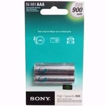 Pilha Aaa Sony Recarregável 900mah Palito - 2 Unidades