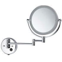 Espelho Articulado Dupla Face Luz Led / 20cm Diâm. Bivolt
