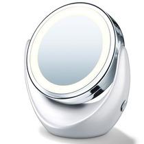Espelho Com Luz Led E Aumento 5x Dupla Face Para Maquiagem